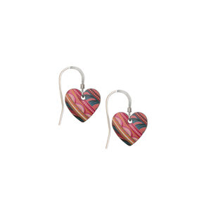 Tiger Lily Modern Vintage Floral Small Heart Earrings