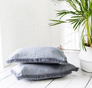 Soft Grey Fringed Cushion - new in home