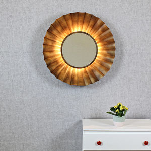 Zeus Antique Copper Sunburst Rays Light Wall Mirror - living room