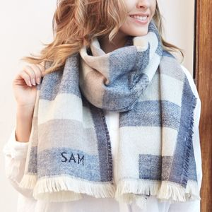 Personalised Denim Blue Tartan Wrap Scarf - blanket scarf trend