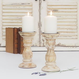 Wooden Candlestick White Distressed - kitchen