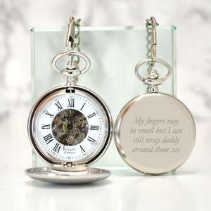 Engraved Pocket Watch Mechanical Skeleton - watches