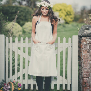 Eastnor Sage And Grey Ticking Stripe Organic Apron