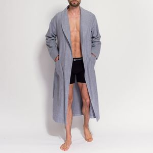 Men's Ash Grey Two Fold Flannel Robe - men's fashion