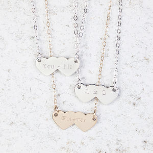 Personalised Double Heart Necklace - jewellery sale