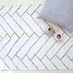 Recycled Cotton Geometric Pattern Rug - office & study