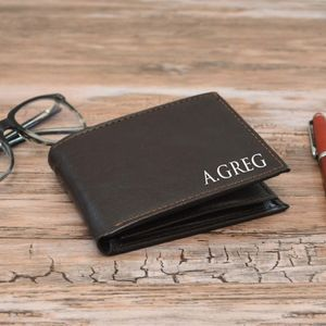 Personalised Brown Wallet For Men - sale