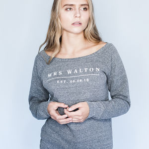 Personalised Wedding Date Sweatshirt Supersoft Luxury - one week to go
