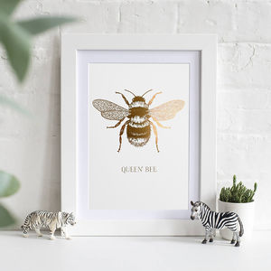 Queen Bee Gold Or Copper Print - drawings & illustrations