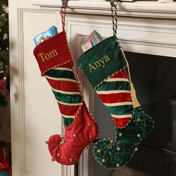 His And Hers Personalised Velvet Christmas Stockings