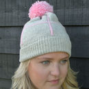 Personalised Knitted Grid Bobble Hat