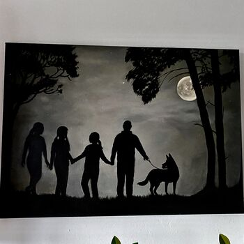 Moonlit Woodland Family Silhouette Acrylic Painting