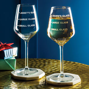 Personalised Drinks Measure Wine Glass - home