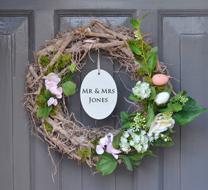 Personalised Floral Wedding Wreath - outdoor decorations