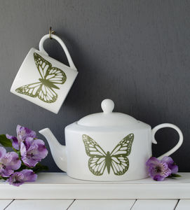 Butterflies Personalised Hand Decorated Oval Teapot - tableware