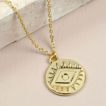 Stamped Eye Necklace In Gold