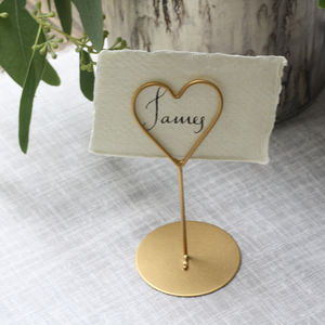 Set Of Eight Heart Name Place Holders White / Gold - table decorations