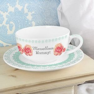 Personalised Vintage Rose Cup And Saucer - cups & saucers