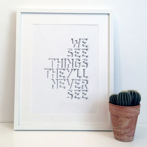 'We See Things' Oasis Lyrics Typography Print