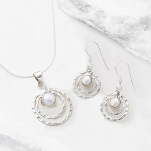 Pearl Infinity Universe Necklace And Earring Set - bridesmaid jewellery