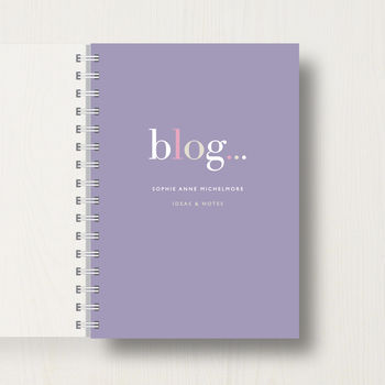 Personalised 'Blog' Lover's Journal Or Notebook in dark mauve