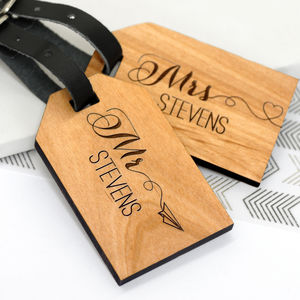 Personalised Wooden Honeymoon Luggage Tags - clothing & accessories