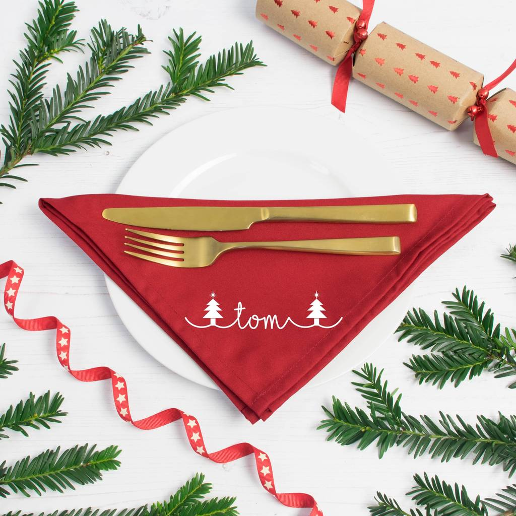 Christmas Napkins.Personalised Christmas Napkins Tree Design