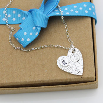 Silver Personalised Initial Heart Pendant