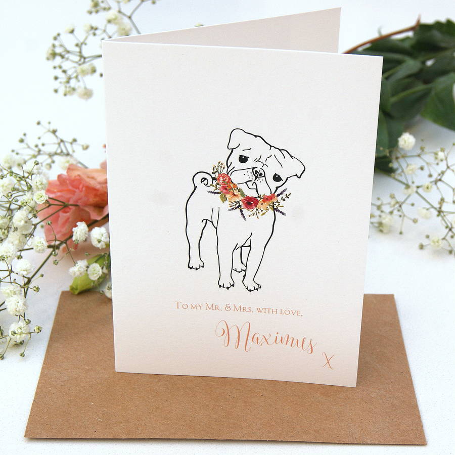 wedding card from your pug or french bull dog by the hummingbird ...