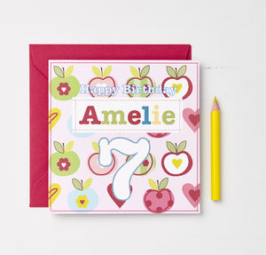 Girls Personalised Age Cards
