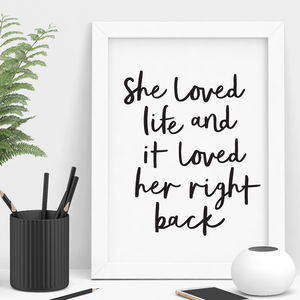 'She Loved Life' Typography Print - sale by category