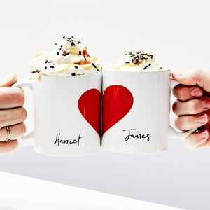 Personalised Love Heart Mug Set - for a special valentine's night in