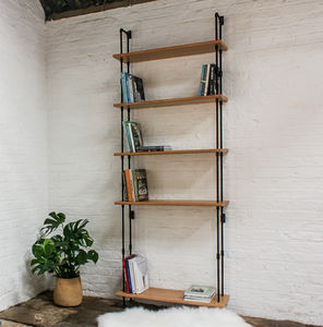 Ben Oak Veneer Shelves And Threaded Steel Uprights - bookcases