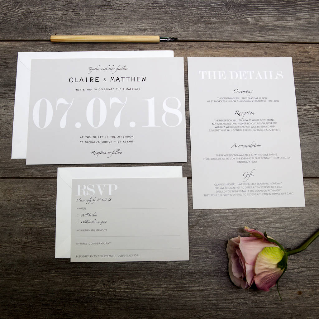 modern traditional wedding invitation by beija flor studio