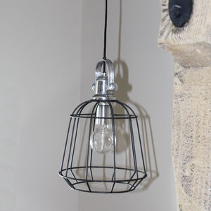 Black And Aluminium Cage Light - ceiling lights