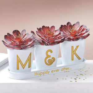 Gold Monogram Wedding Buckets In A Tray - 10th anniversary: tin