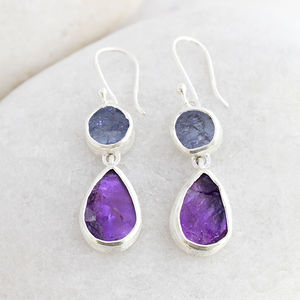 Amethyst And Tanzanite Gemstone Silver Ladies Earrings - earrings
