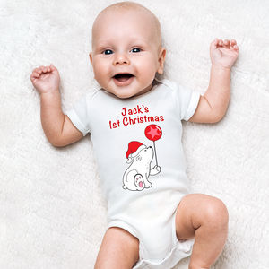 Personalised First Christmas Bear Baby Grow - whatsnew