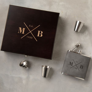 Personalised Engraved Hip Flask Gift Set For Him