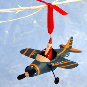 Personalised Santa In His Plane - view all decorations