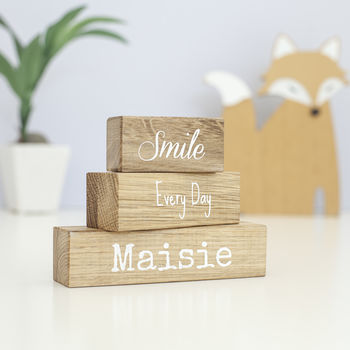 Personalised 'Smile Every Day' Oak Building Blocks