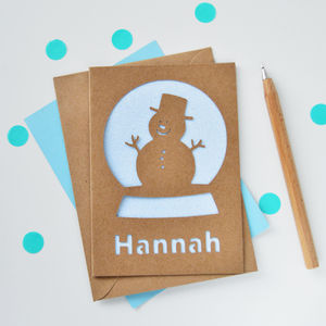 Personalised Snow Globe Glitter Cut Out Card - cards