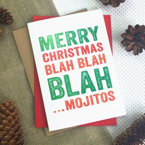 Merry Christmas Blah Blah Blah Mojitos Greetings Card - christmas cards: packs