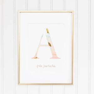 Personalised Dreamy Watercolour Gold Foil Nursery Print
