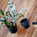 Set Of Hanging Charcoal Cement Planters