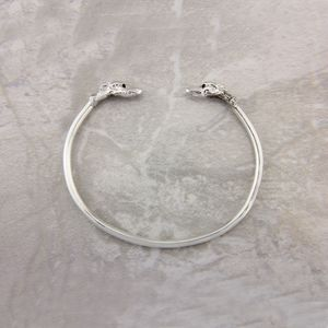 Greyhound Bangle With Black Diamonds