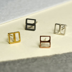 Geometric Handmade Square Silver Earrings