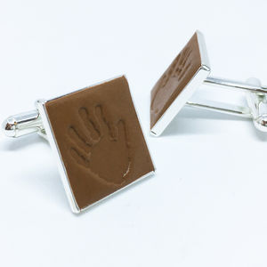 Personalised Silicon Handprint And Footprint Cufflinks