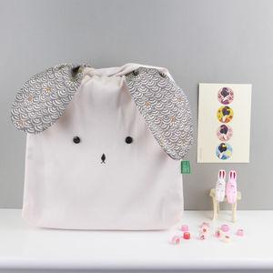 Bunny Rabbit Pastel Japanese Fabric Bag