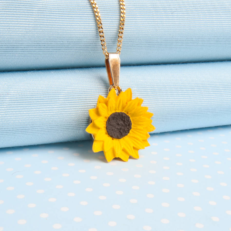 Sunflower pendant necklace by good intentions notonthehighstreet sunflower pendant necklace gold plated finish aloadofball Gallery